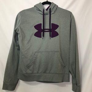 Under Armour Grey Purple Logo Pullover Hoodie L